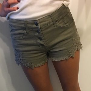 Pants - Olive Green Embroidered Button Shorts